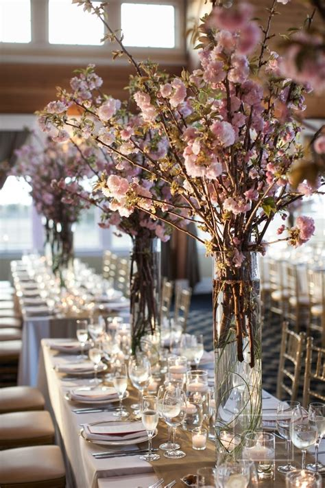 cherry blossom arrangements romantic cherry blossom wedding centerpiece onewed com