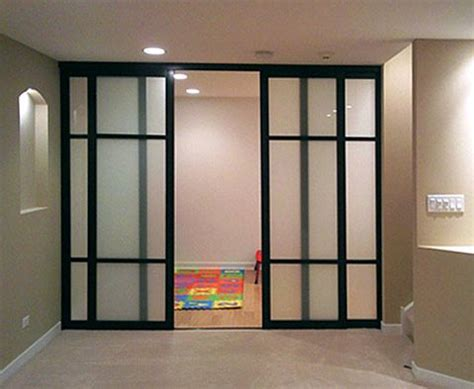 Glass Room Divider Doors Sliding Glass Door Room Dividers 2 Inch Frame Black Finish Custom Design Frosted Glass