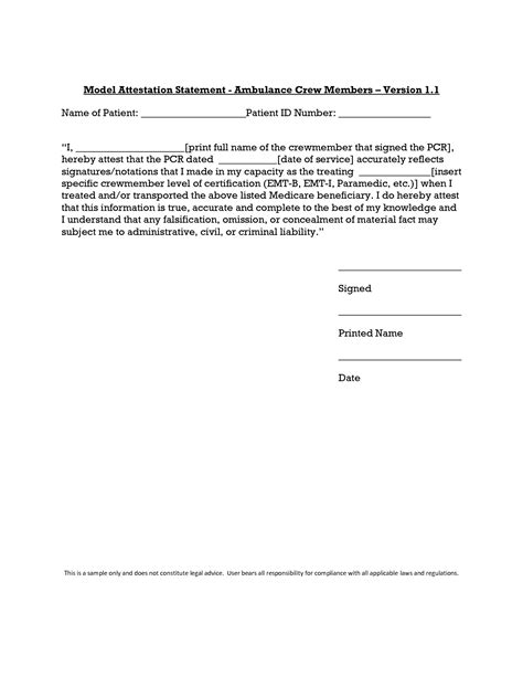 Signature Attestation Letter Format best photos of attestation statement exles sle