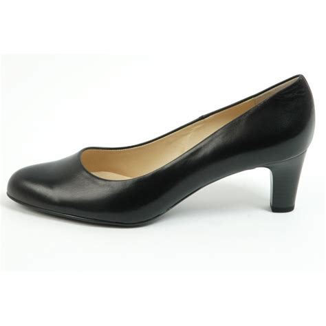 kaiser classic black leather court shoes