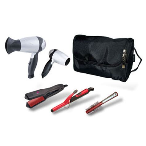 Lewis Mini Hair Dryer And Straightener Travel Set hair styling set includes mini curling iron pocket straightener and travel dryer on global sources