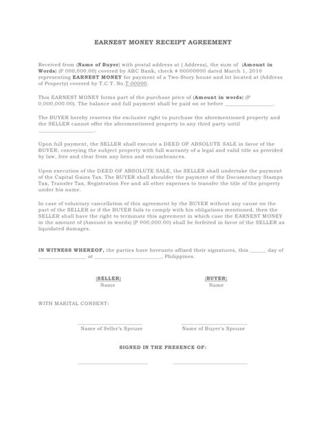 Money Agreement Letter Sle Earnest Money Receipt Agreement