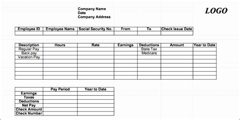 7 Excel Paycheck Template Exceltemplates Exceltemplates Free Check Stub Template Excel