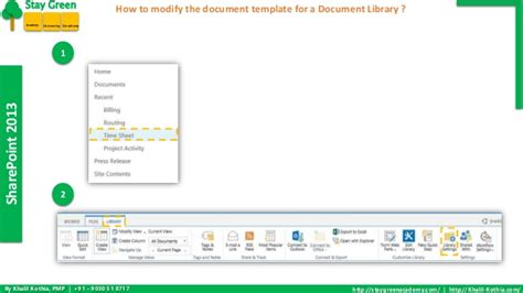 how to modify the document template for a document library