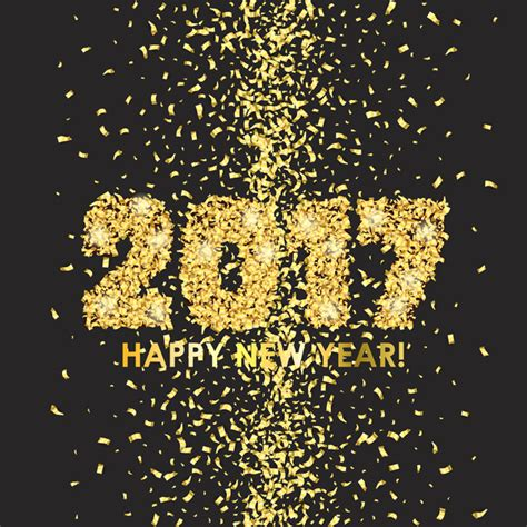 new year vector 2017 new year with golden confetti black background vector