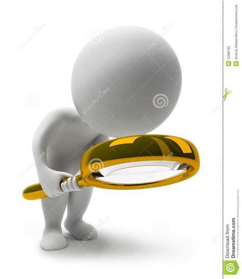 lada con lente di ingrandimento piccola gente lente di ingrandimento 3d illustrazione di