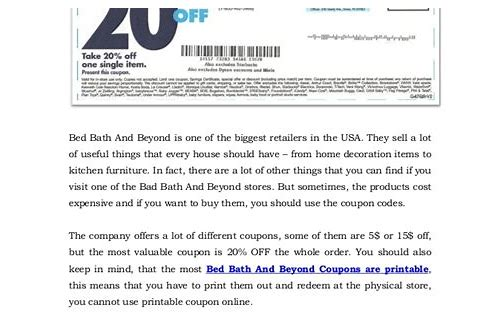 bed bath beyond coupon text