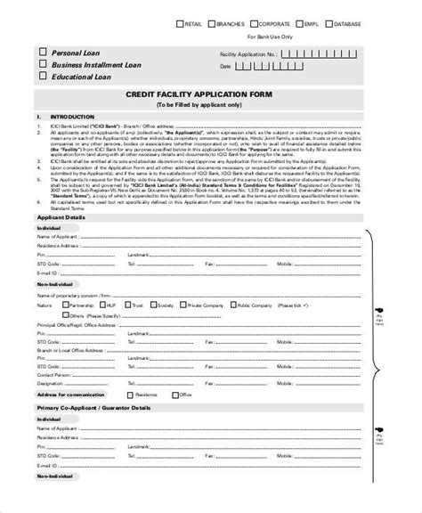 Credit Facility Template sle application forms in pdf
