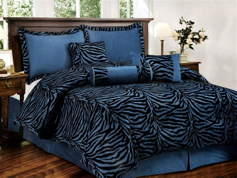 7 pc faux fur flocking zebra pattern comforter set blue