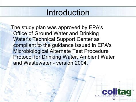 Epa Office Of Water by Epa Atp Study Presentation Colitag 16 48 Hour
