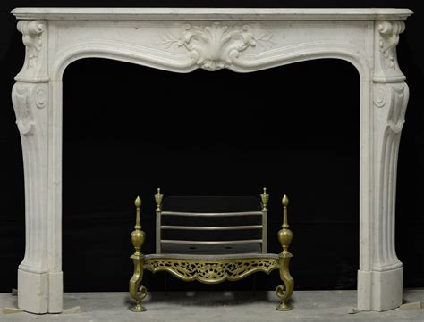 antique white marble louis xv fireplace mantel at