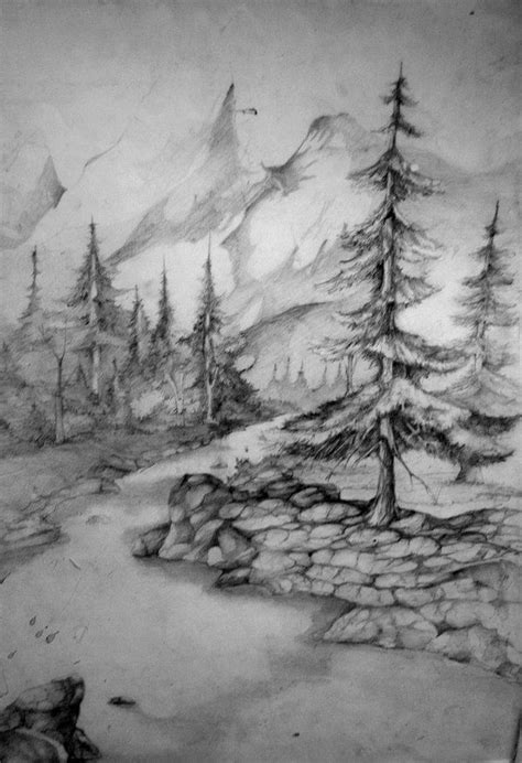 Landscape Drawing Landscape Drawing By Gorzkaczekoladka On Deviantart