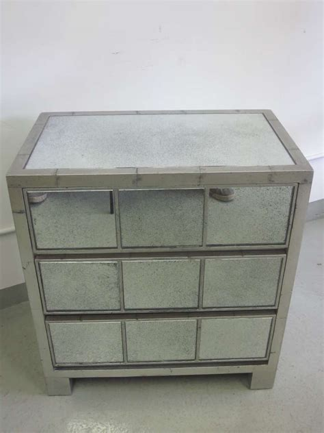 Silver Leaf Nightstand 2 Silver Leaf Style Mirror Nightstands Or Commodes In Style Jean Michel Frank For Sale At 1stdibs