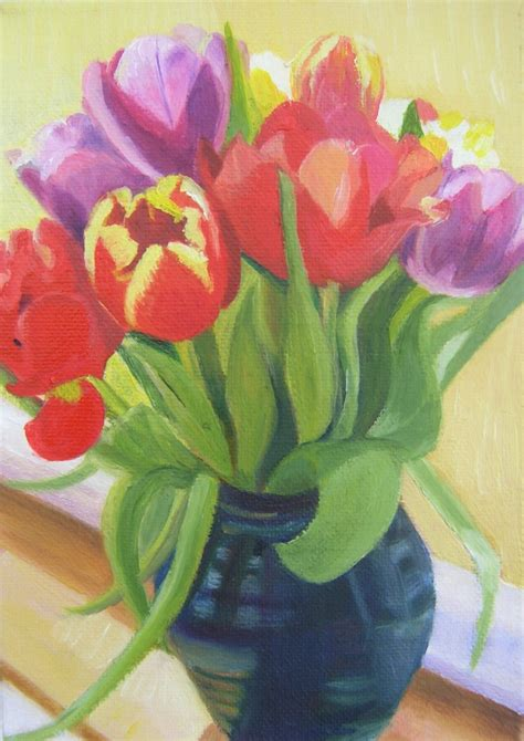 paintings of tulips in a vase