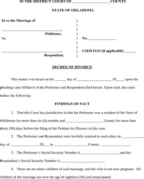 oklahoma divorce decree form for free page 3