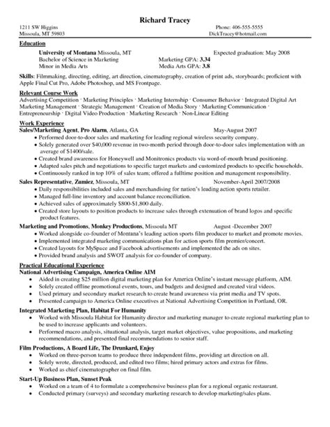 Travel Account Manager Sle Resume by Doc 550792 Student Resume Exle Bizdoska