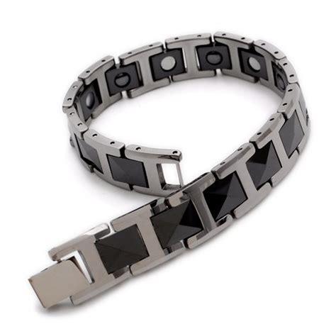 Bracelet Magnetic Tungsten Cramic Kesehatan Black Silver 1 black silver tungsten magnetic hematite mens bracelet 8 quot b386 in charm bracelets from jewelry
