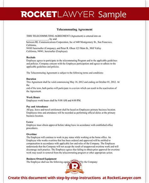 telecommuting agreement template emsec info