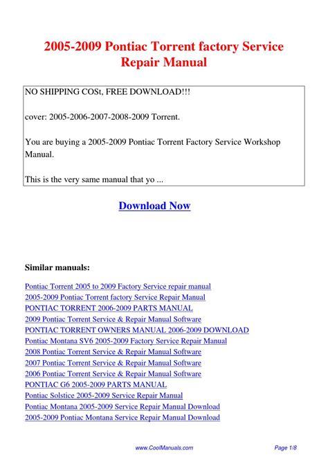 free service manuals online 2007 pontiac torrent regenerative braking 2005 2009 pontiac torrent factory service repair manual pdf by guang hui issuu