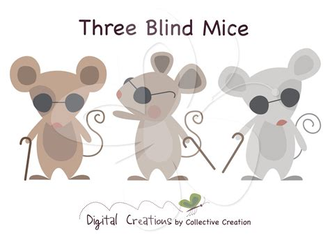 Three Blind Mouse three blind mice digital clip clipart by