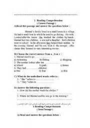 english worksheet grade 7 reading comprehension