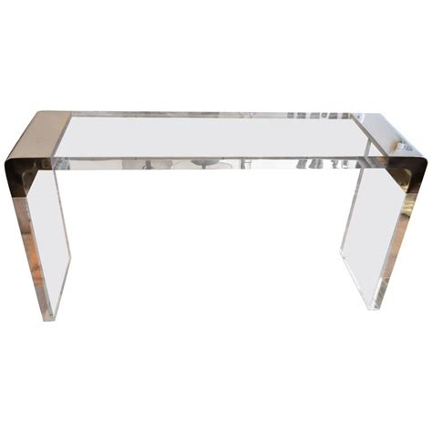 exceptional thick lucite waterfall console table at 1stdibs