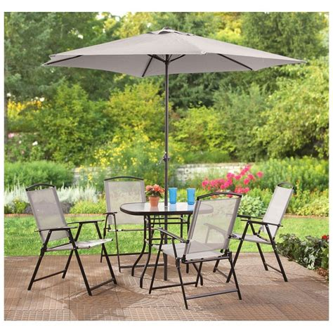 4 Chair Patio Set Furniture Outdoor Table Bench Set With Cushions Umbrella Navy Patio Table And Chair