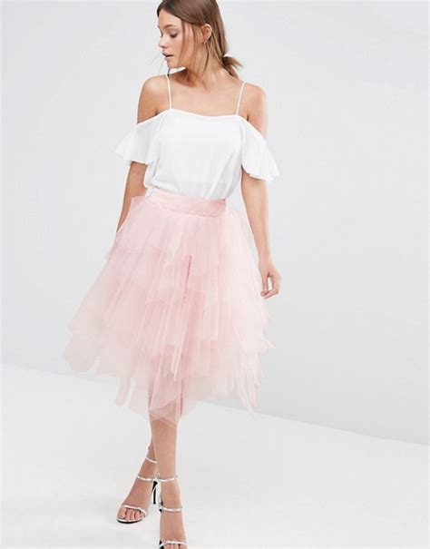chi chi chi chi tulle midi skirt in layers