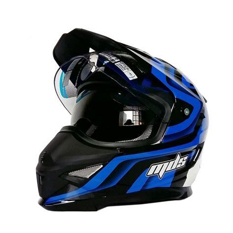 Helm Mds Superpro jual mds pro helm solid white blue met