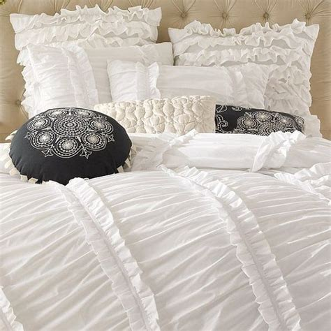 white ruffle comforter queen white ruched ruffled 3pcs bedding set queen