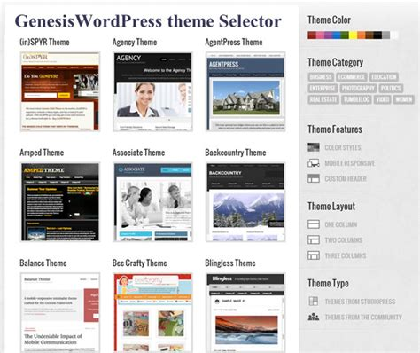 wordpress genesis layout genesis wordpress theme selector tool
