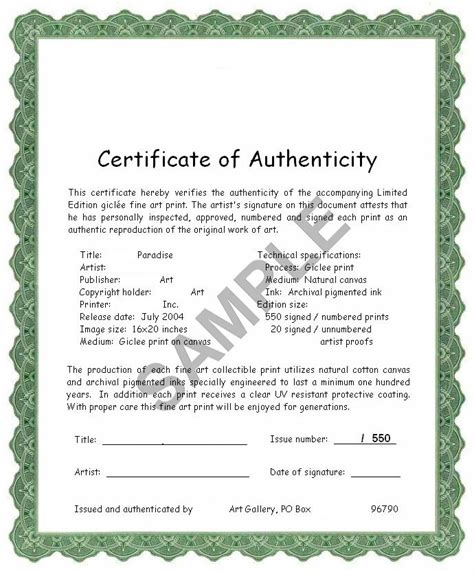 certification letter of authenticity certificate of authenticity how valuable is it for