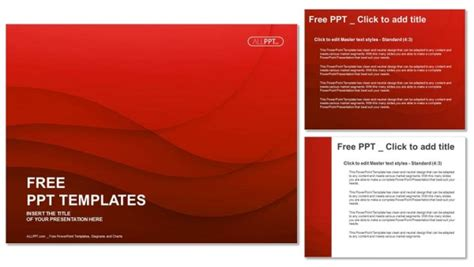 waves  red powerpoint templates