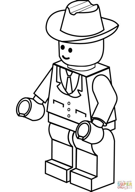 lego man in cowboy hat coloring page free printable