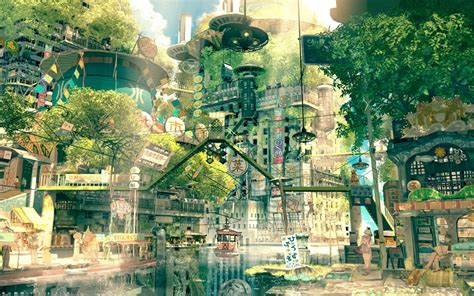city background drawing drawing city cityscape japan fictional nature anime