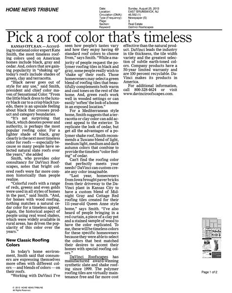 home news tribune a roof color that is timeless