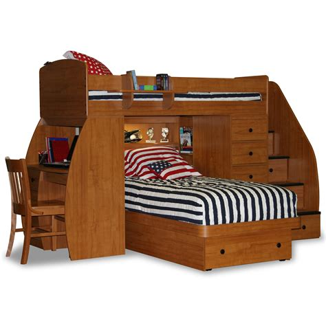 twin loft bunk bed with futon chair and desk berg sierra twin l shaped bunk bed with storage wayfair