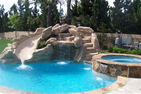 Backyard Pools With Rock Slides 15 Gorgeous Swimming Pool Slides Home Design Lover
