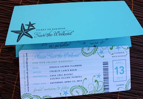 plane ticket wedding invitation template turquoise green swirl starfish airline ticket save the