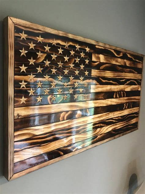 large handmade burned wood american flag american flag