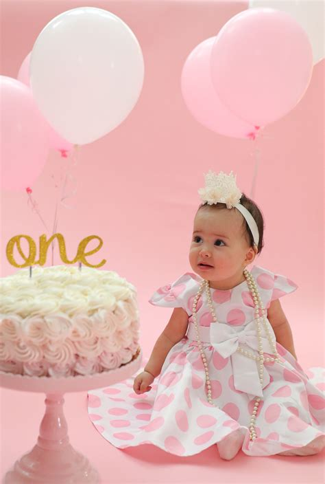 First Birthday Cake Smash Party, Pink and Gold One Year party