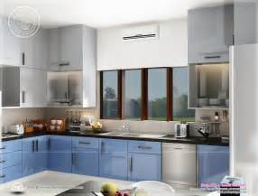home kitchen interior design photos beautiful blue toned interior designs home kerala plans