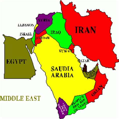 middle east map showing kuwait contextual map of middle east