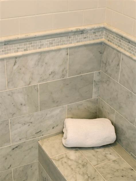 marble subway shower tile transitional bathroom