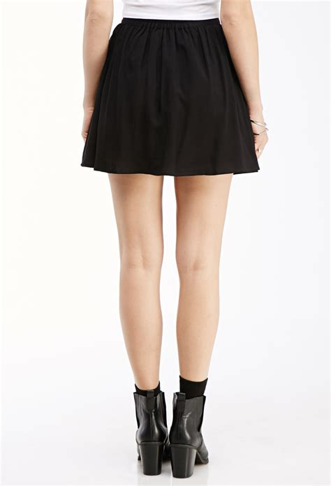 Button Front Mini Skirt lyst forever 21 button front mini skirt in black