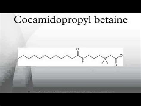 coco betaine cocamidopropyl betaine youtube