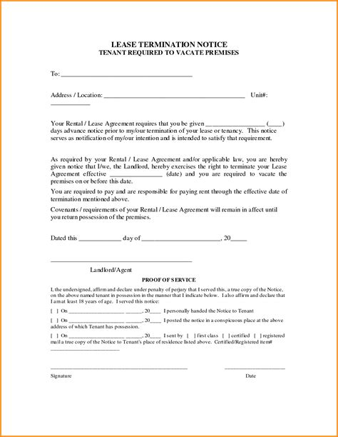 Lease Ending Agreement Letter Termination Of Lease Agreement 3104122 Png Letter Template Word