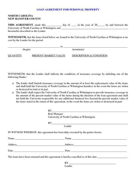 Free Printable Personal Loan Contract Form Generic Personal Agreement Contract Template