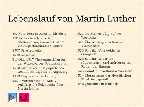 Chronologischer Lebenslauf Martin Luther Martin Luther Und Die Reformation Ppt Herunterladen
