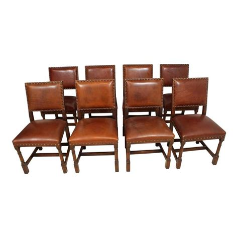 Oak Dining Room Table Chairs Mid 20th Century Oak Dining Room Table With Eight Leather Chairs For Sale At 1stdibs